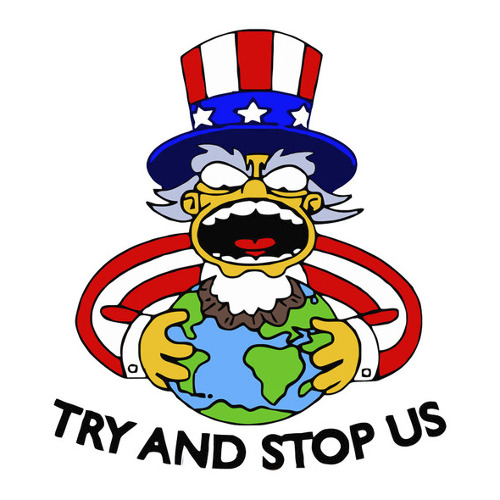 Try And Stop Us The Simpsons Homer Funny USA T-Shirt