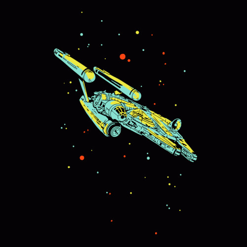Millennium Falcon Starship Enterprise Funny Star Wars Trek T-Shirt