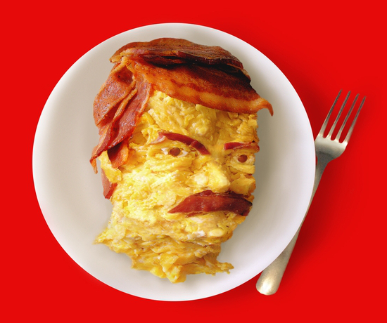 Bacon Eggs Ron Swanson Breakfast Portrait T-Shirt