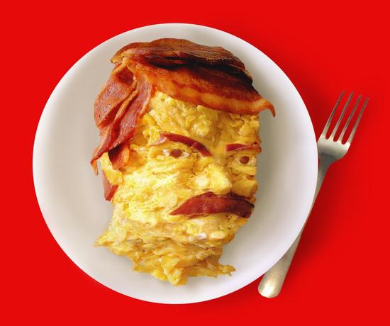 Bacon Eggs Ron Swanson Breakfast Portrait T-Shirt