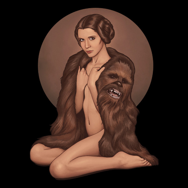 Sexy Leia Chewbacca Fur Coat Star Wars T-Shirt