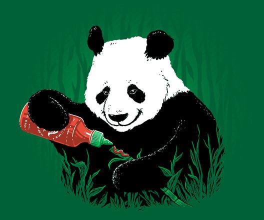 Sriracha Hot Sauce Panda Bamboo Funny T-Shirt
