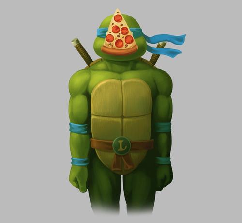Teenage Mutant Ninja Turtles Pizza Son of Man Leonardo Rene Magritte T-Shirt