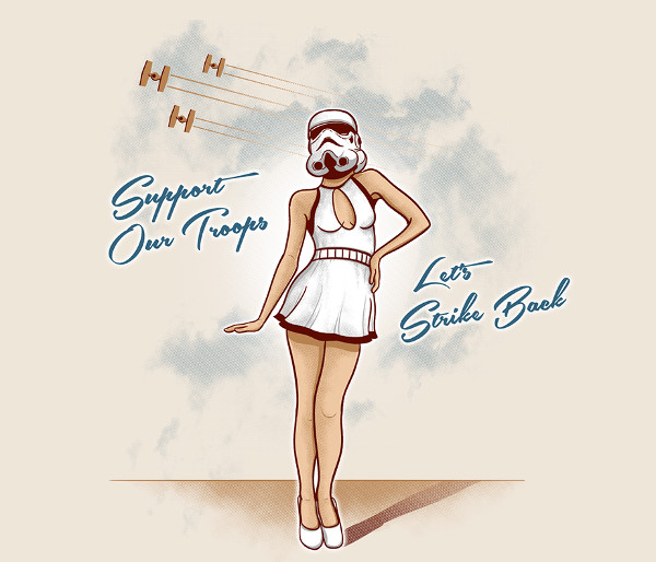 Sexy Vintage Stormtrooper Pinup Girl Support Our Troops Star Wars T-Shirt