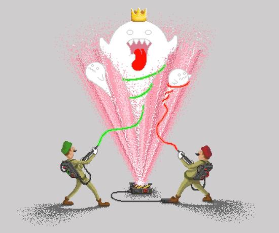 Super Mario Bros Boo Ghostbusters T-Shirt