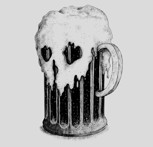 Skull Head Beer Mug Dark Lager T-Shirt
