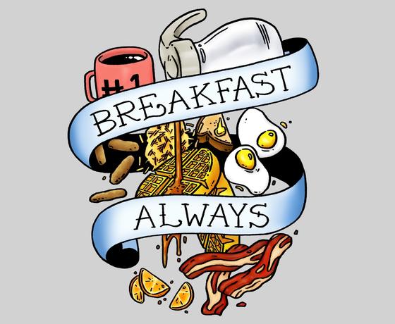 Breakfast Always Ed Hardy Tattoo Design T-Shirt