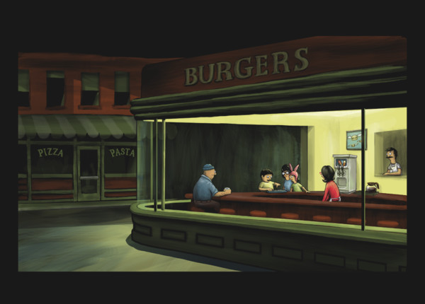 Bob's Burgers Nighthawks Diner Edward Hopper T-Shirt Print