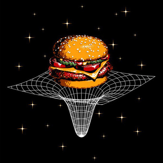 Space-Time Continuum Cheeseburger Space Cosmos T-Shirt