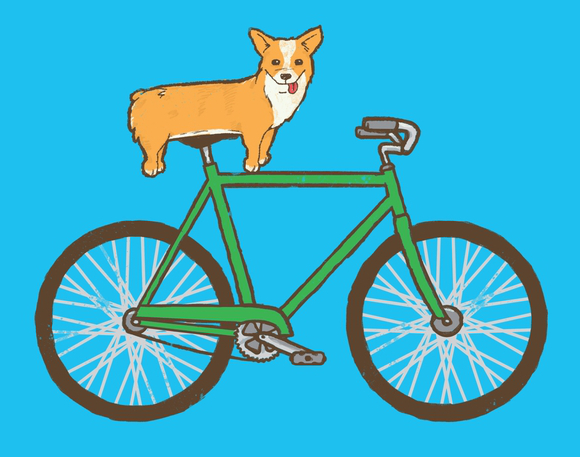 Corgi on Bicycle T-Shirt