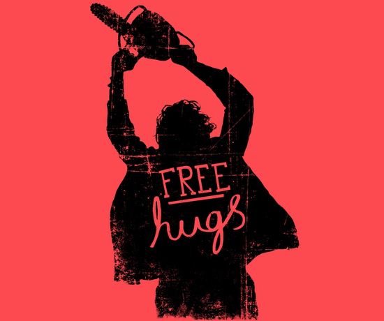 Free Hugs Texas Chainsaw Massacre Funny Horror T-Shirt