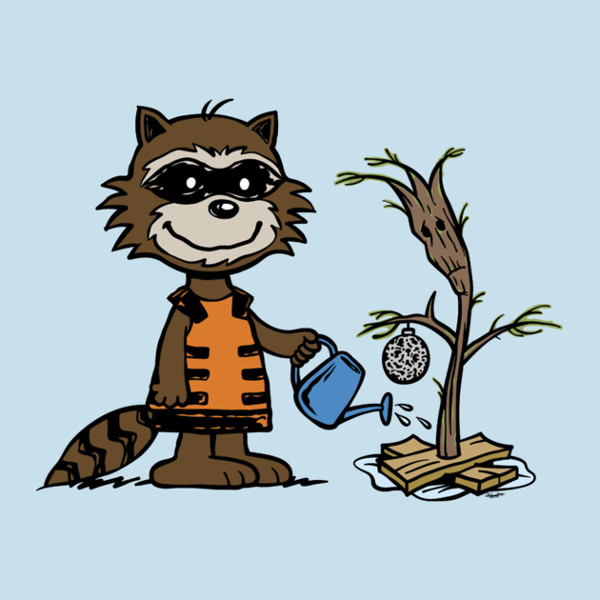 Rocket Groot Charlie Brown Tree Guardians of the Galaxy T-Shirt