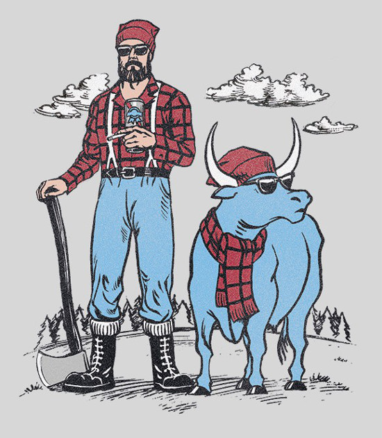Hipster Paul Bunyan Lumberjack T-Shirt