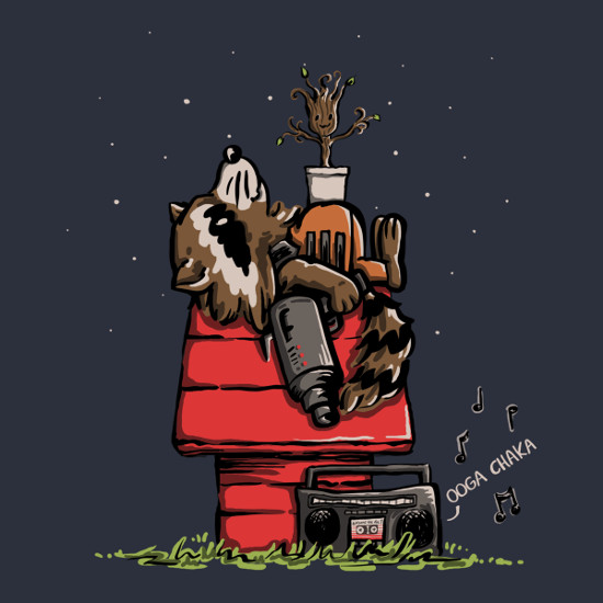 Rocket Groot Snoopy Guardians of the Galaxy Peanuts T-Shirt