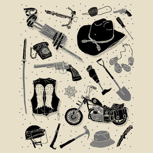 Artifacts Walking Dead Iconic Weapons Gear T-Shirt