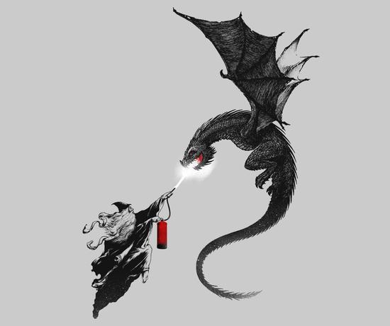 Dragon Fire Extinguisher Wizard T-Shirt