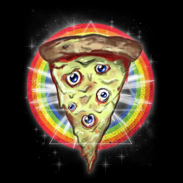 Trippy Pizza Slice Psychedelic Eyes T-Shirt