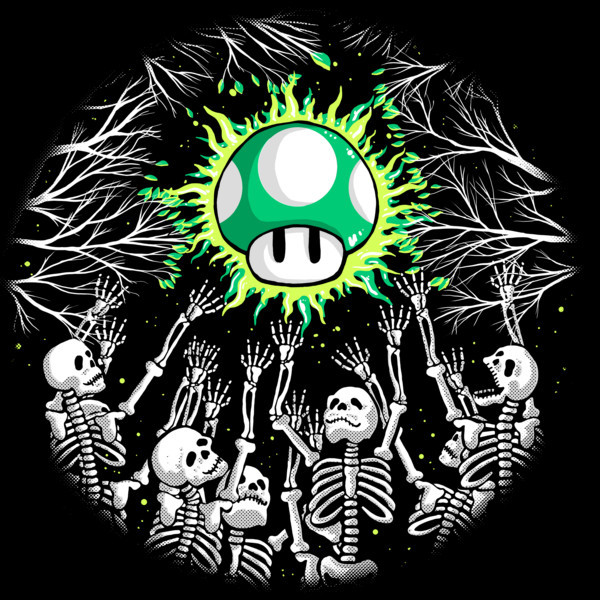 Life 1-Up Mushroom Skeletons T-Shirt