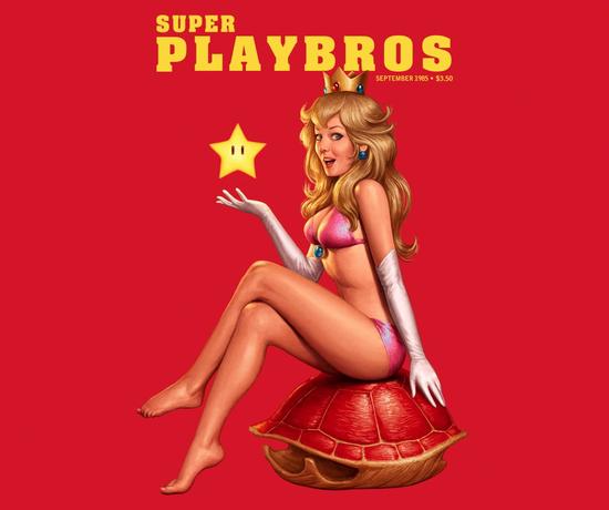 Super Mario Bros Playboy Princess Peach Pinup T-Shirt