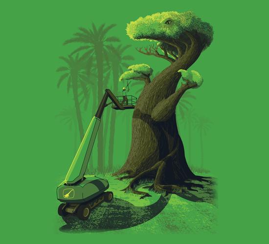 T-Rex Tree Topiary Landscaping Art T-Shirt