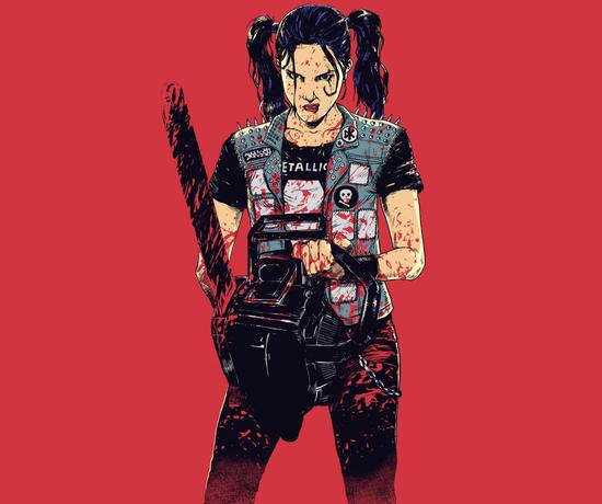 Zombie Slayer Chainsaw Metallica Girl Horror T-Shirt