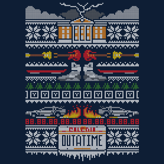 Back to the Future Christmas Sweater Pattern T-Shirt