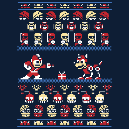 Mega Man Christmas Holiday Sweater Pattern T-Shirt