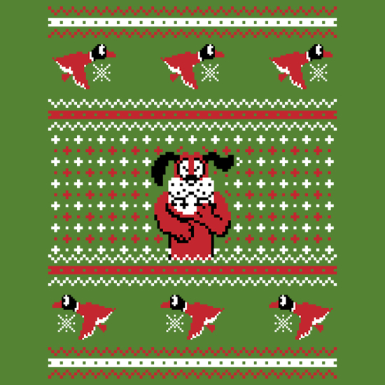 Duck Hunt Christmas Sweater Dog Pattern T-Shirt