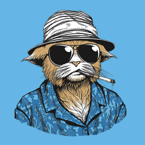 Hunter S. Thompson Cat Fear and Loathing T-Shirt