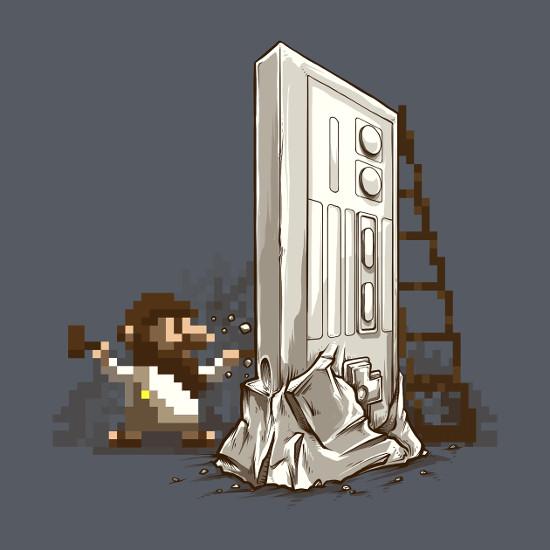 Nintendo Renaissance NES Pixel Sculpture T-Shirt