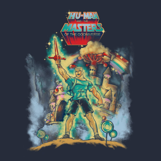 Masters of the Oooniverse Finn He-Man Adventure Time T-Shirt