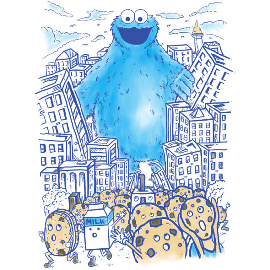 Cookie Monster Godzilla T-Shirt