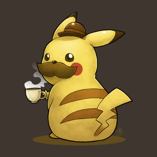 Pikachu Cheers Tea Mustache Gentleman Pokemon T-Shirt