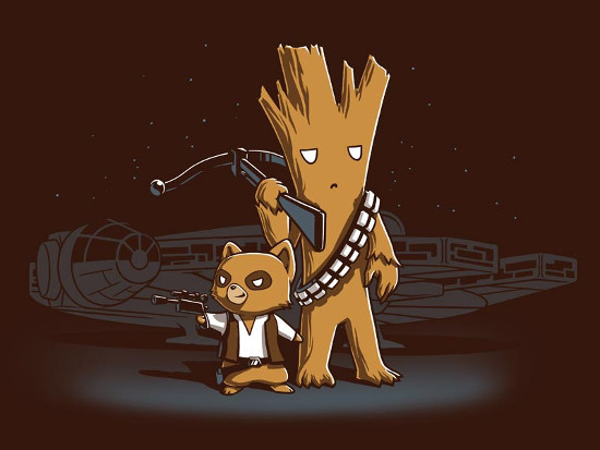 Rocket Raccoon Han Solo Groot Chewbacca T-Shirt