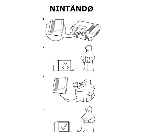 Nintendo Ikea Instructions NES Gaming T-Shirt