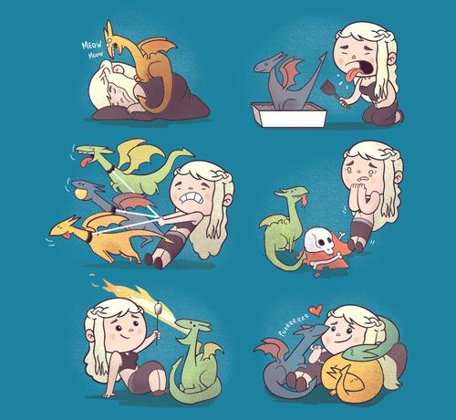 Daenerys Targaryen Dragon Cats Game of Thrones T-Shirt