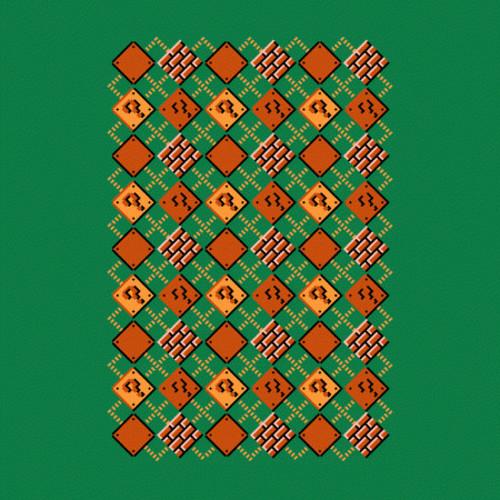 Super Mario Argyle Sweater Block Pattern T-Shirt