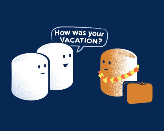 Marshmallow Beach Vacation Tan T-Shirt