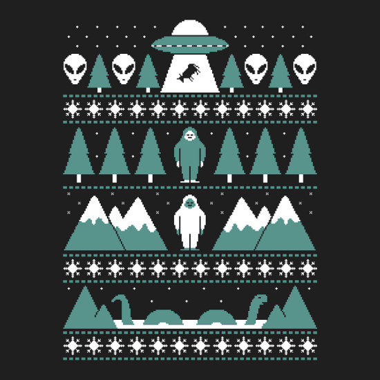 Paranormal Aliens Sasquatch Loch Ness X-Files Christmas Sweater T-Shirt