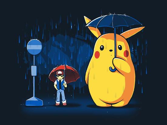 My Neighbor Totoro Pikachu Ash Rain Pokemon T-Shirt
