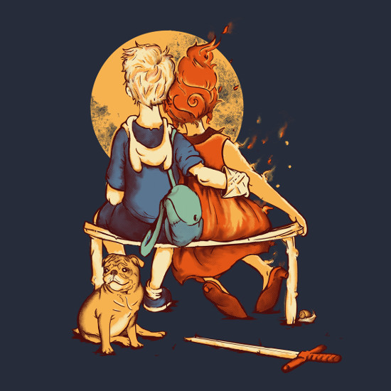 Adventure Time Norman Rockwell Finn Flame Princess T-Shirt