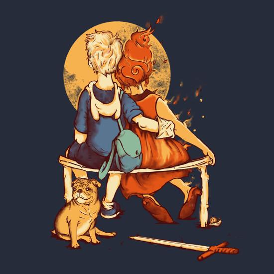 Adventure Time Norman Rockwell Finn Flame Princess T-Shirt