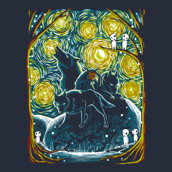 Princess Mononoke Starry Night Van Gogh T-Shirt