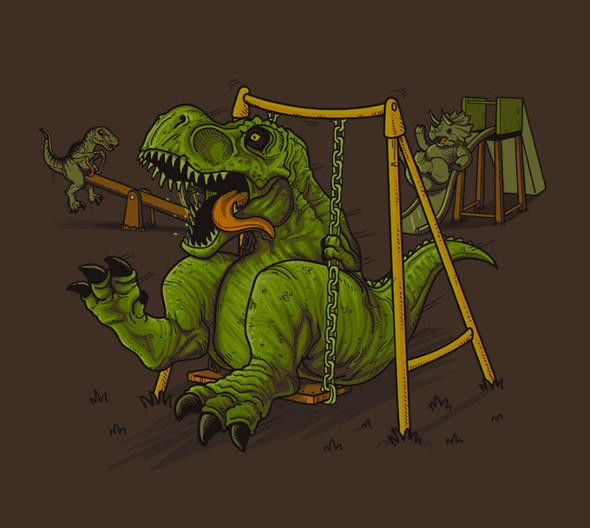 Jurassic Park Playground T-Rex Swing T-Shirt