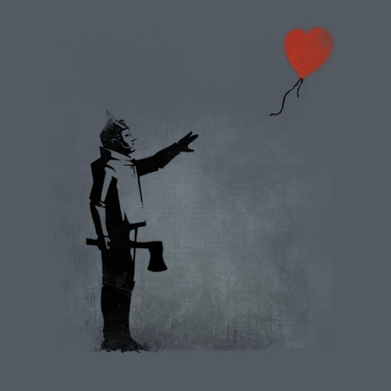 Tin Man Heart Balloon Banksy Wizard of Oz T-Shirt