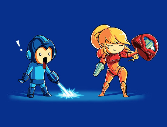 Mega Man Samus Nerdgasm Metroid T-Shirt