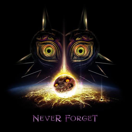 Never Forget Majora's Mask Moon Legend of Zelda T-Shirt