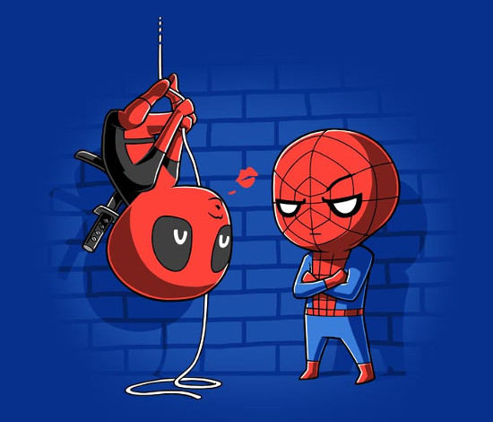 Pucker Up Spider-Man Deadpool Kiss Scene T-Shirt
