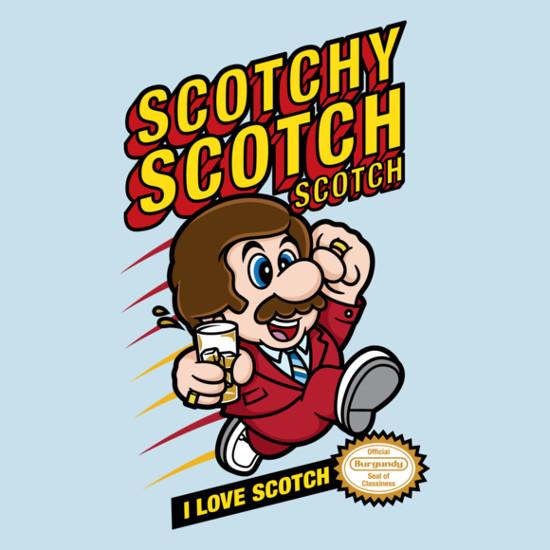 Super Scotchy Bros Anchorman Mario Game T-Shirt