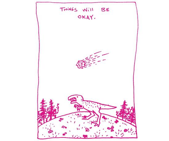 Things Will Be Okay Dinosaur Meteor T-Shirt